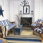 Sala de estar decorada con azul