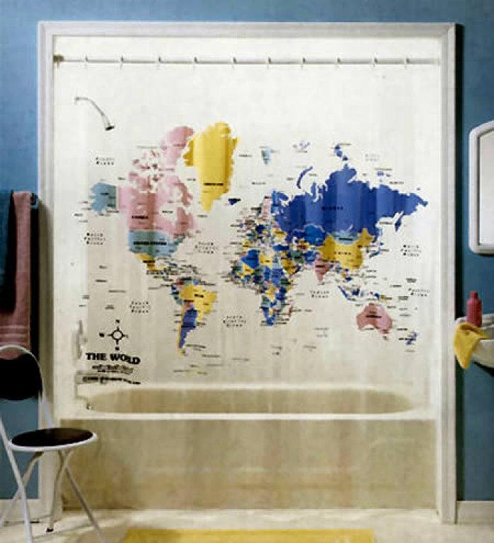 cortina baño mapa mundi