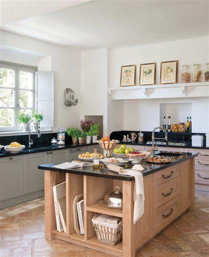 Islas de cocina de madera con granito negro