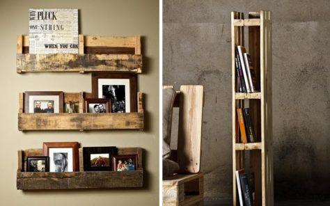 Ejemplos de muebles hechos con palets. Estanterías de diseño.