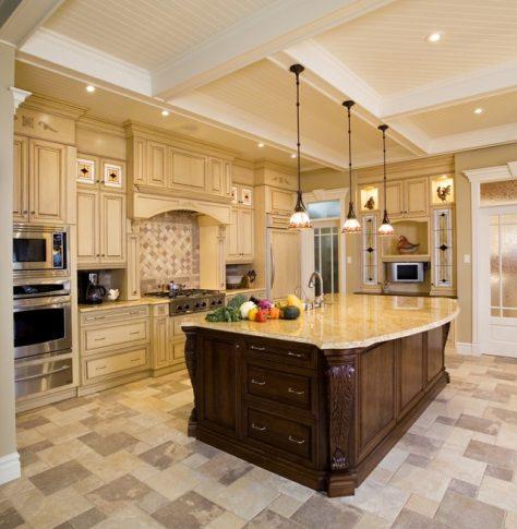 Islas de cocina de madera con mármol