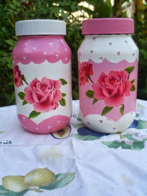 decorar jarros de vidrio con pintura acrílica