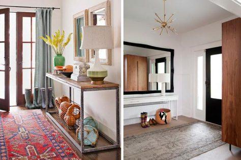 dos imágenes con alfombras para decorar un recibidor con estilo