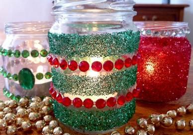 decorar frascos de vidrio con cinta doble cara