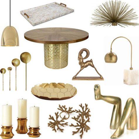 Imagen con varios adornos en dorado.