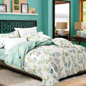 decorar una cama floral en verdes