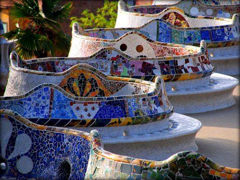 Bancos del Parque Güell de Antoni Gaudí
