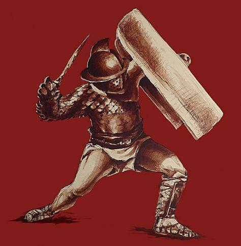 Recreación de un gladiador de el coliseo