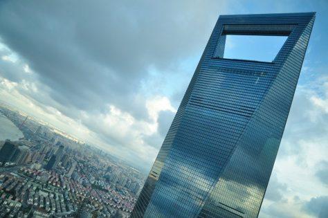 detalle del Shanghai world financial center, uno de los edificios más altos del mundo